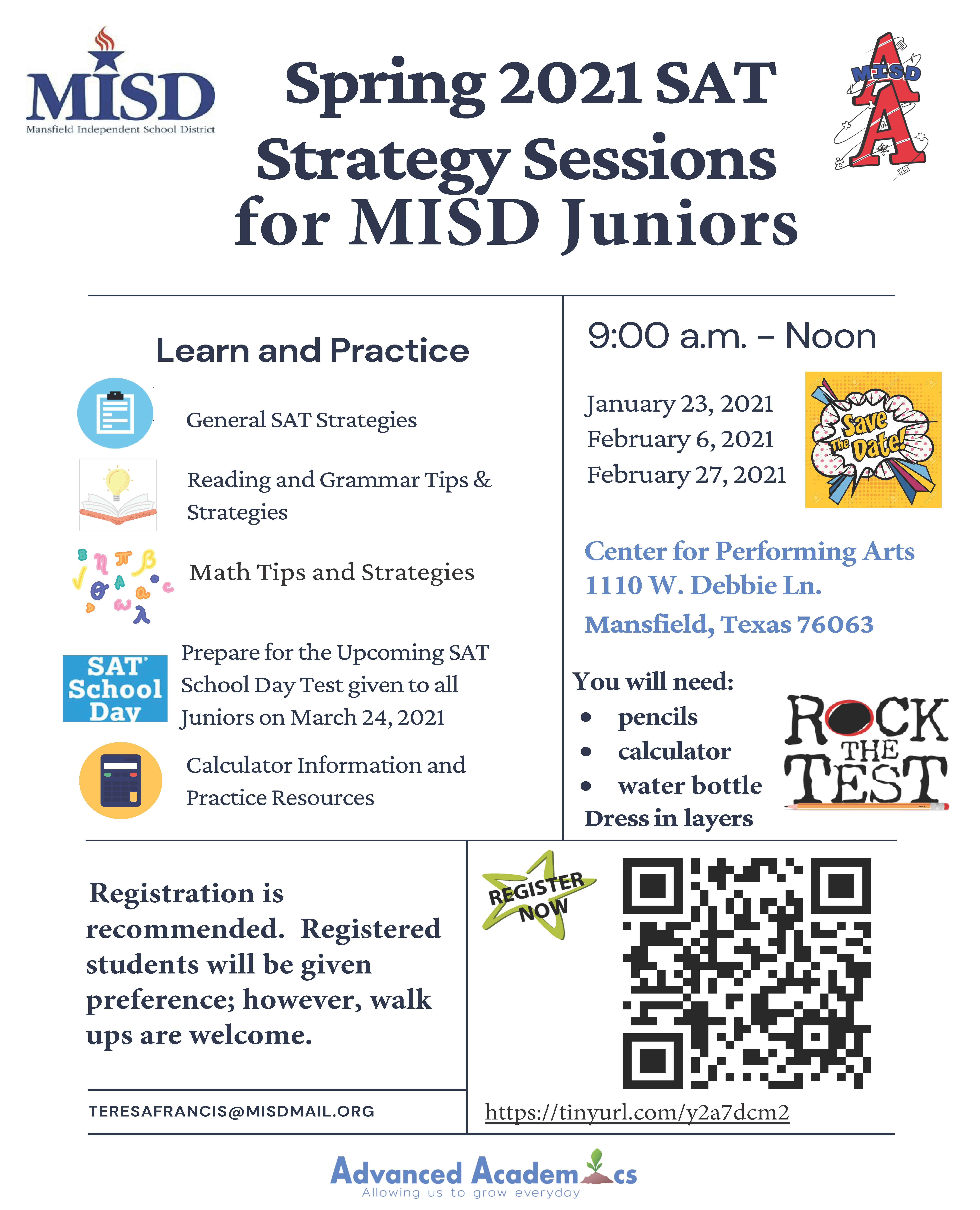 SAT Strategy Sessions Flyer Image