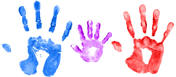 three colorful handprints