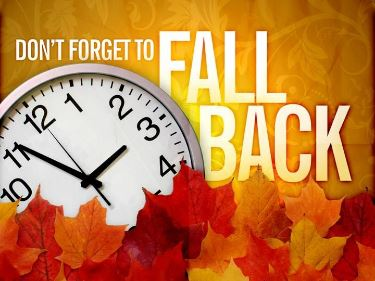 Don't forget to fall back one graphic with leaves and clock