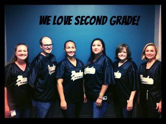 6 teachers standing under a sign that reads we love second grade