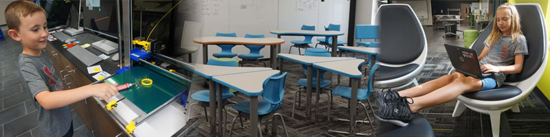 Three photos from inside the STEM Academy building