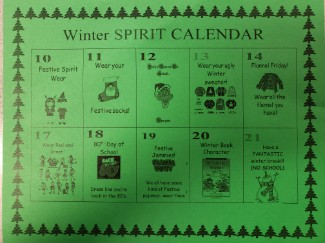 Winter Spirit Wear calendar of dates- English