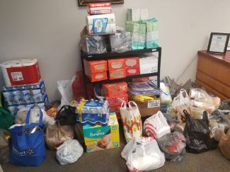 Donation items for hurricane relief effort