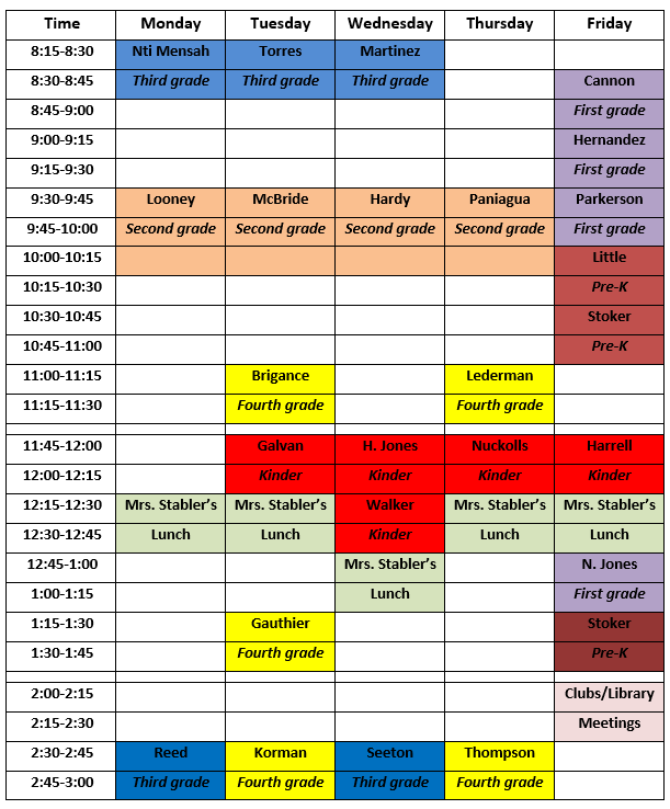 Colorful schedule for Cabaniss Library
