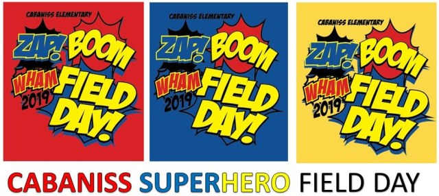 Red Blue Yellow sign with Zap Boom Wham