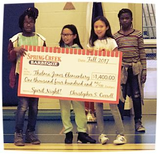 Students holding spring creek check